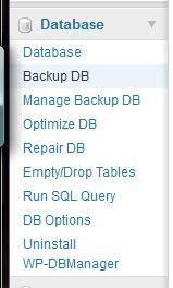 WP DB Manager - Menu